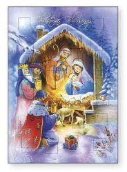 Advent Calendar Christmas Card with Gold Foil Highlights. Catholic Christmas Cards, Christmas Goodies, Foil Highlights, Our Lady Of Lourdes, St Patrick, Seasons, Advent Calendars, Gold Foil, Painting