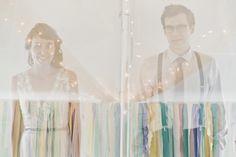 Wedding photography: double exposure of bride and groom