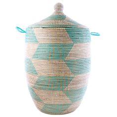 Woven African Laundry Clothes Hamper - Aqua - Large