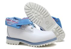 Top A+ Mens Timberland Roll-Top Shoes White/Blue