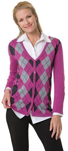 Plus Size Button Front Argyle V-Neck Career Sweater