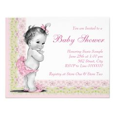 Sweet Baby Pink and Green Baby Shower Custom Announcements
