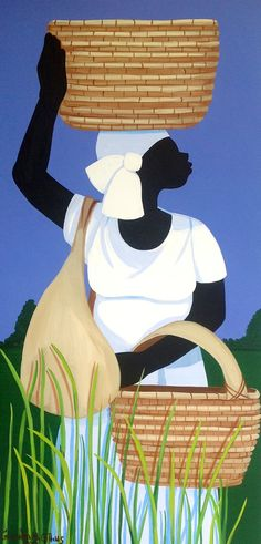 """""""Baskets for the Harvest"""" by Cassandra Gillens, Gullah art from South Carolina"""