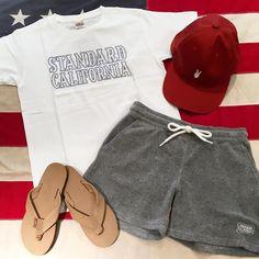 レディースサイズも揃ってます 被り浅めのキャップは女性でも被りやすいのでおすすめですよ #standardcalifornia #スタンダードカリフォルニア #logo #tshirt #rainbowsandals #cap #shorts