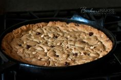 Peanut Butter Chocolate Chip Skillet Cookie | BarbaraBakes.com