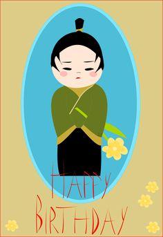 free printable Happy Birthday card and kokeshi boy sticker - ausdruckbare Geburtstagskarte - freebie   MeinLilaPark – DIY printables and downloads