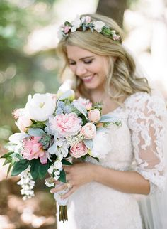 """I handmade our silk bouquets, and my flower crown, I found Afloral.com and Hobby Lobby very helpful place to find realistic silk flowers, I love how Lambs Ear looks..."""