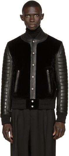 Balmain Black Velvet & Leather Bomber Jacket