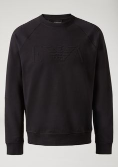 Emporio Armani Crew Neck Sweatshirt In Stretch Cotton With Raised Logo - Navy Blue Xxs