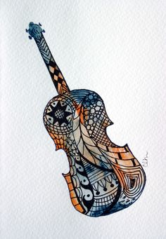Zentangle art watercolor card fiddle violin by ArtworksEclectic, $4.75