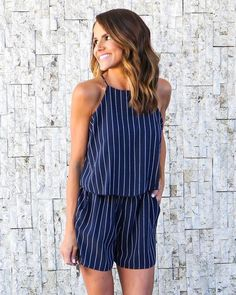 e42c81e86c0c We love pinstripes and the Orleans Romper mixes them with a fun summer  silhouette! It s