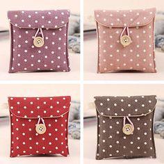 Women's Portable Polka Dot Storage Pouch Sanitary Napkin Holder Organizer Bag 10WG #Affiliate