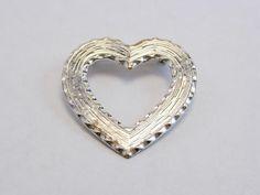 Vintage Silver Tone Jewelry Flower Heart Pin Brooch