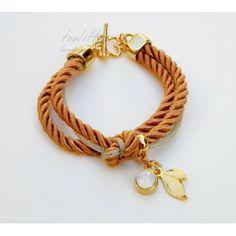 Camel Satin Rope & Swarovski Strass Bracelet #rope bracelet