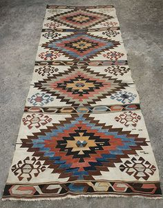 "Karapinar Kilim Central Anatolia. Early to Mid 19th century Wool. 4'10""x 14'3"" Slit tapestry"