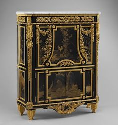 Antique Louis XVI secretary, 1783 ~ by Jean Henri Riesener (French, 1734-1806). Oak veneered with ebony, black and gold Japanese lacquer, tulipwood, holly and black stained holly, amaranth, gilt-bronze mounts, white marble.  Ordered with a matching commode and encoignure (corner cabinet) for Queen Marie Antoinette at Versailles. [1st of four pins]