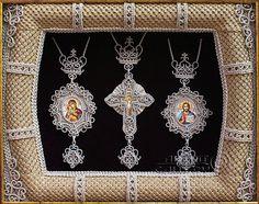 Macrame art. Religious icons. Applied art. Set - Cross and Panagia. Denshchikov Vladimir