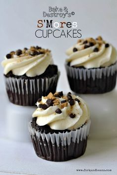 S'Mores Cupcakes. #vegan #glutenfree (optional)