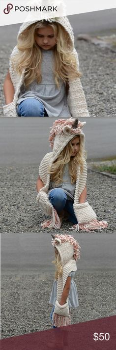 """Unicorn Knit Hooded Scarf for Kids! Super cute and cozy-soft unicorn fantasy hooded scarf. Best sized for ages 4-7. Scarf length is approximately 22"""" from end to shoulder. Please allow 1-3 days to ship. Perfect for the season or a magical Christmas gift! Choose from pink or olive green! ✨ Accessories Hats"""