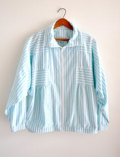 Vintage 90s 80s Light Blue and White Striped Zip by ShopTinyBricks