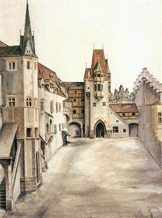Daily artworks: Albrecht Dürer (1471 - 1528) Innsbruck Castle Courtyard (1494)
