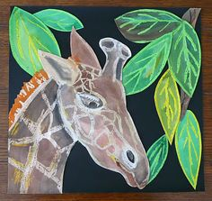 Giraffe Wax Resist Painting