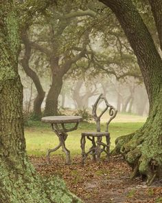 A faux bois bistro set from @hussonstudio looks perfectly at home in this grove of rare live oaks! #fauxbois #enchantedforest #liveoaks