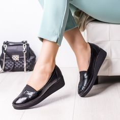 Pantofi Piele dama negri cu platforma Dilafi