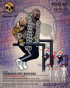 chest exercise: weight chest dips - power bro