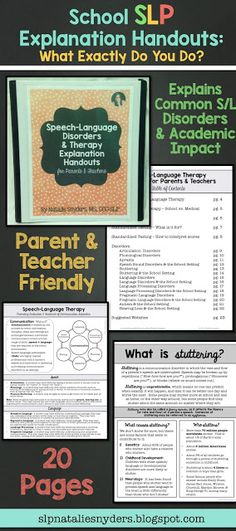 Speech-Language Therapy Explanation Handouts for Parents & Teachers. Must Have! By Natalie Snyders