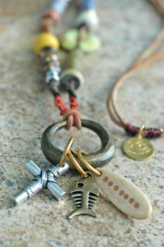 Rustic Brass Ring and Leather Mixed Media Charm Necklace | XO Gallery
