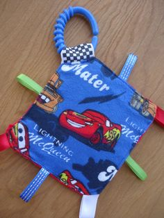 Baby Crinkle Toy from Disney Cars Theme fabric with Lighting McQueen and Mater - Infant Toy, Newborn Soother, Diaper Bag Toy, Crinkle Paper