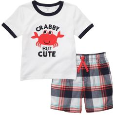 Carters Boys 3-24 Months Crab Plaid Short Set ($18) ❤ liked on Polyvore featuring baby boy