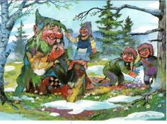 Troll family taking a rest from their mischief and  having a picnic.   artist Erik A. Eriksen, Norge.