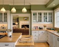 Crisp Architects Traditional Kitchen New York By Nice Green Color With Butcher Block Counters To Compliment A White