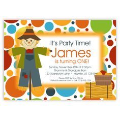 Scarecrow Invitation Red Orange Blue Polka Dots by PurpleBerryInk, $15.00
