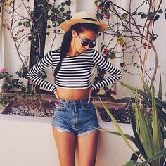 stripes crop top. cutoffs.