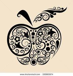 Similar Images, Stock Photos & Vectors of abstract tattoo design, vector design. Teacher Tattoos, Apple Tattoo, Abstract Tattoo Designs, Apple Vector, Cover Up Tattoos, Leaf Flowers, Vinyl Crafts, Vinyl Projects, Cricut Creations