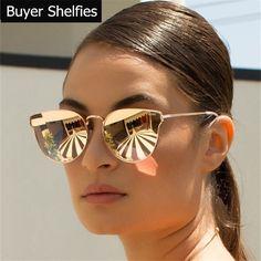 Olho de Gato Óculos De Sol Das Mulheres Marca de luxo Designer De 2017 Do Vintage Retro Mulheres Senhora Óculos De Sol Óculos de Espelho Óculos De Sol Óculos de Sol Feminino