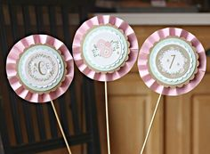 Girl / 1st / First Birthday Party Centerpiece Set. Set of 3 rosette sticks. Fully assembled. Pink / Mint / Floral / shabby chic. by CharmingTouchParties on Etsy