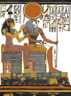 Ancient Egyptian God Art Print featuring the painting Ancient Egyptian Gods Hathor And Re by Ben Morales-Correa Ancient Egyptian Paintings, Ancient Egypt Art, Egyptian Art, Ancient Aliens, Ancient Artifacts, Ancient History, Egyptian Jewelry, European History, Ancient Greece