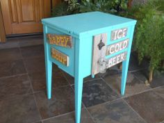 Vintage sewing machine table made into a beer bar.