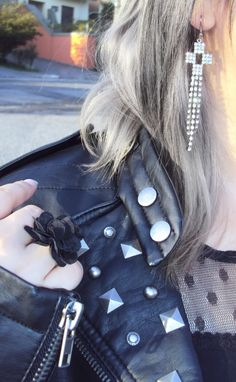 Leather, studs, sparkles and silver hair ❤