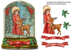 Lovely Holy Girl In a Snow Globe  on Craftsuprint designed by Ceredwyn Macrae - A beautiful card to make and give to anyone with a lovely holy girl in a snow globe a lovely card has one greeting tag and a blank one for you to choose the sentiment, - Now available for download!