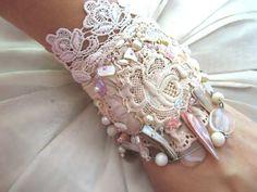 ❥ SALE - Delicate Rose Bracelet, Antique Lace, Beaded, Cream, Silk Linen, Shell, Cuff Style