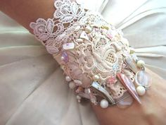 ❥ SALE - Delicate Rose Bracelet, Antique Lace, Beaded, Cream, Silk Linen, Shell, Cuff Style