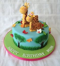 Enjoyed making these little cuties, well eventually when i managed to get the shape right :-) Giraffe Birthday Cakes, Giraffe Cupcakes, Baby Birthday, Birthday Parties, Fondant Cakes, Cupcake Cakes, Baby Cakes, Carrot Cake Frosting, Novelty Cakes