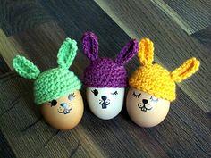 Bunny Egg Cozy - free crochet pattern by Fibre Equations. Dk yarn.