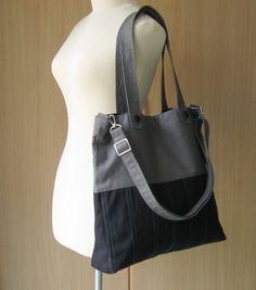 Sale 10  Black/Grey Canvas Bag tote purse everyday by tippythai, $35.00