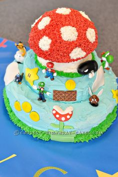 Coolest Super Mario Bros Cake... This website is the Pinterest of birthday cake ideas